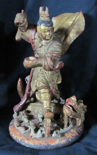 19ththc Chinese Carved Gilt Wood Figure Of Nezha photo