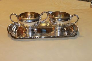 Vintage Silverplated Sugar Bowl/creamer Essay Canada & Silverplate Serving Tray photo