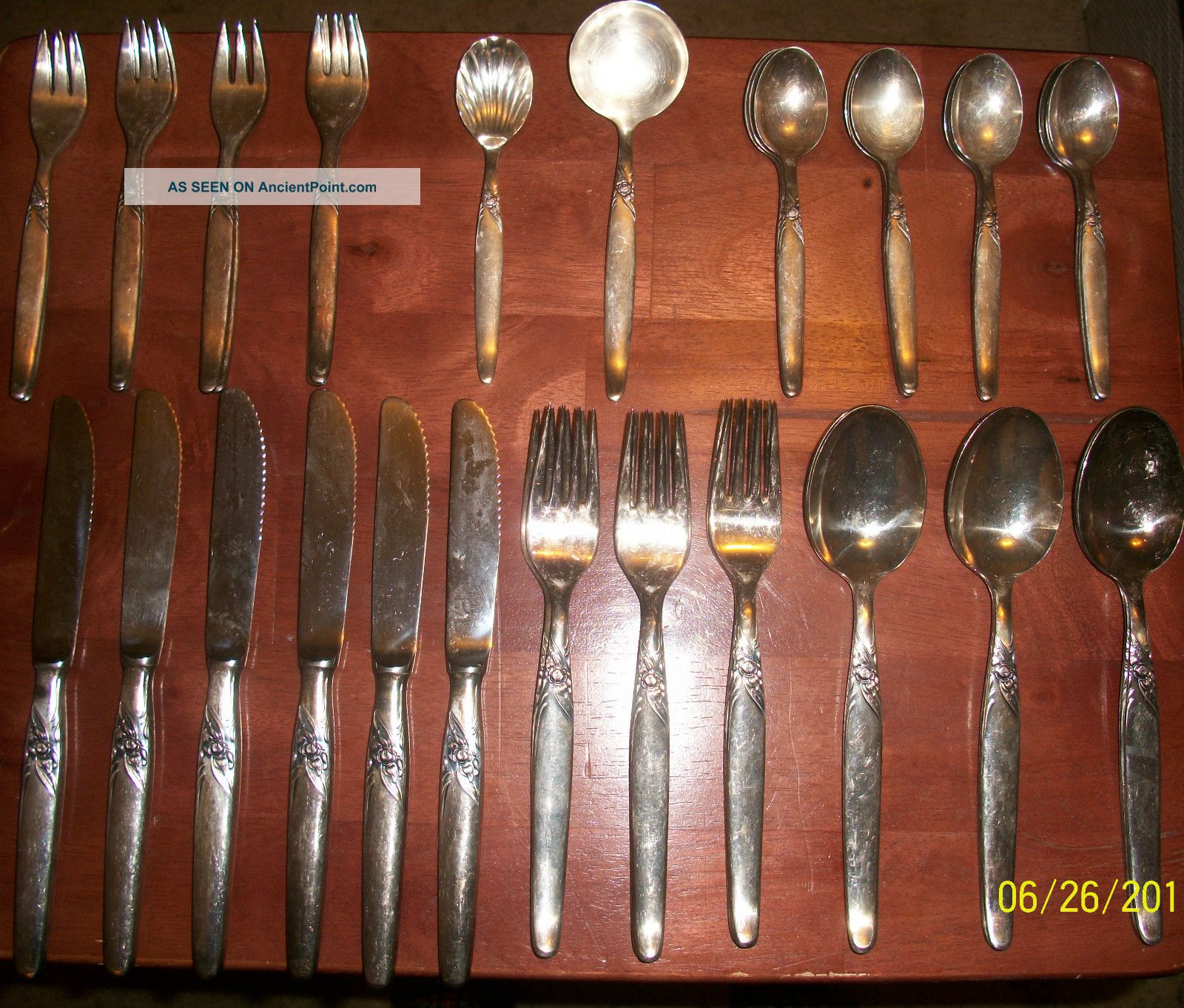 48 Piece Kleebatt Rose Complete German Silver - Plated Silverware Set Germany photo