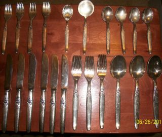 48 Piece Kleebatt Rose Complete German Silver - Plated Silverware Set photo