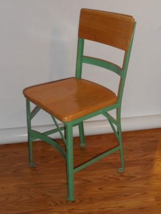 Vintage Angle Steel Industrial/factory Chair Solid Wood Seat & Back Shape photo