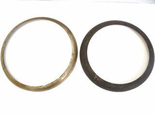 Vintage Old Large Metal Cast Iron Woodstove Burner Collars Frames Parts Nr photo