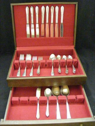 Rogers Bros.  Silverplate Flatware Inspiration 48pc.  Set Chest / Box photo