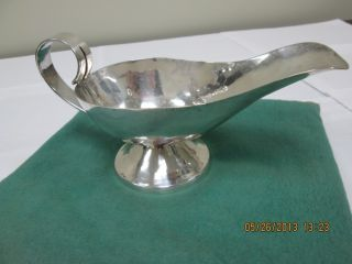 Vintage Mexico Sauce Boat Sterling Silver With Hammered Surface photo