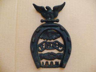 Rare Old Iron Ioof Independent Order Odd Fellows Flt Plaque Horseshoe Eagle Eye photo