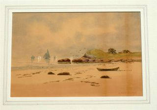 D.  A.  Fisher Watercolor 1895 New England Coast (maine) photo