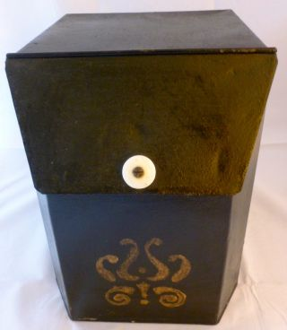 Antique 19th Century Tole General Store Storage Bin Biscuit Tin Black Stenciled photo