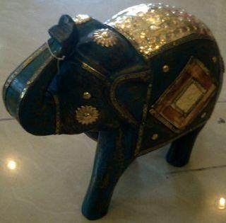 Wooden Elephant Up Trunk India Africa Camel Bone Fitted Vintage Handmade Animal photo