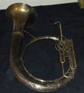 Antique C.  G.  Conn Silver Plated Tuba Sousaphone Musical Baritone Instrument photo