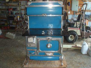 Karr A420 Wood Burning Cook Stove Blue Enamel Antique Range Cast Iron Vintage photo