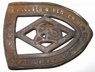 Antique Vintage Cast Iron Sad Gas Iron Advertising Trivet Pleuger & Henger Mfg photo