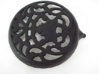 Old Antique Cast Iron Stove Simmering Cover Plate Trivet - Marked Pr Irv photo