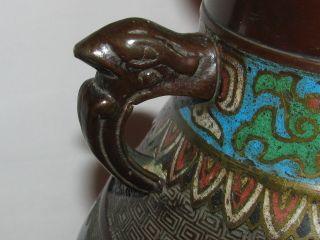 Antique Japanese Bird Cloisonne Brass Or Bronze Vase / Urn photo