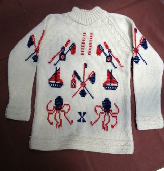Vintage Nautical Men ' S Sweater Thick Wool Handmade photo