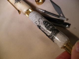 Scrimshaw Whitetail Deer Antler Combinationtool Pen Ship - Lighthouse - Compaas photo