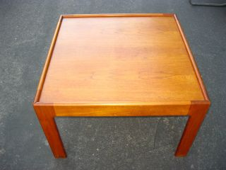 Vintage Teak Square Coffee Table Danish Mid Century Modern photo
