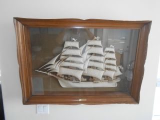 1940 ' S Box Framed 3d Ship Painting Model - The Flying Cloud 1850 Large Nautical photo