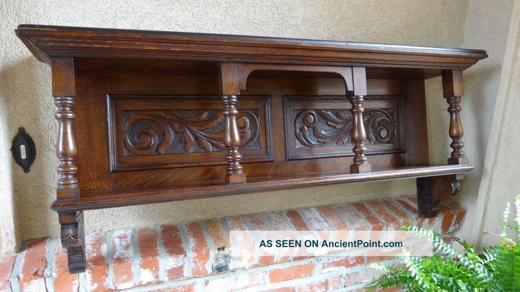 & Antique English Carved Oak Wall Shelf Plate Rack Bookshelf Mantel