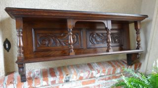 Antique English Carved Oak Wall Shelf Plate Rack Bookshelf Mantel photo