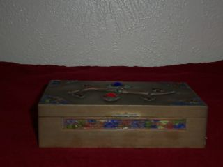Antique Chinese Brass Trinket/cig.  Box Cabochon Glass Inserts & Enameling photo