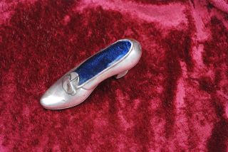 Unusual Vintage Sterling Ladies Shoe Or Slipper Pin Holder photo