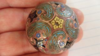 Antique French Enamel Dome Button With Colorful Ornate Design Approx 1 - 1/2