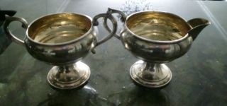 F B Rogers Silver Co Weighted Sterling Silver Sugar And Creamer 1883 Trade Mark photo