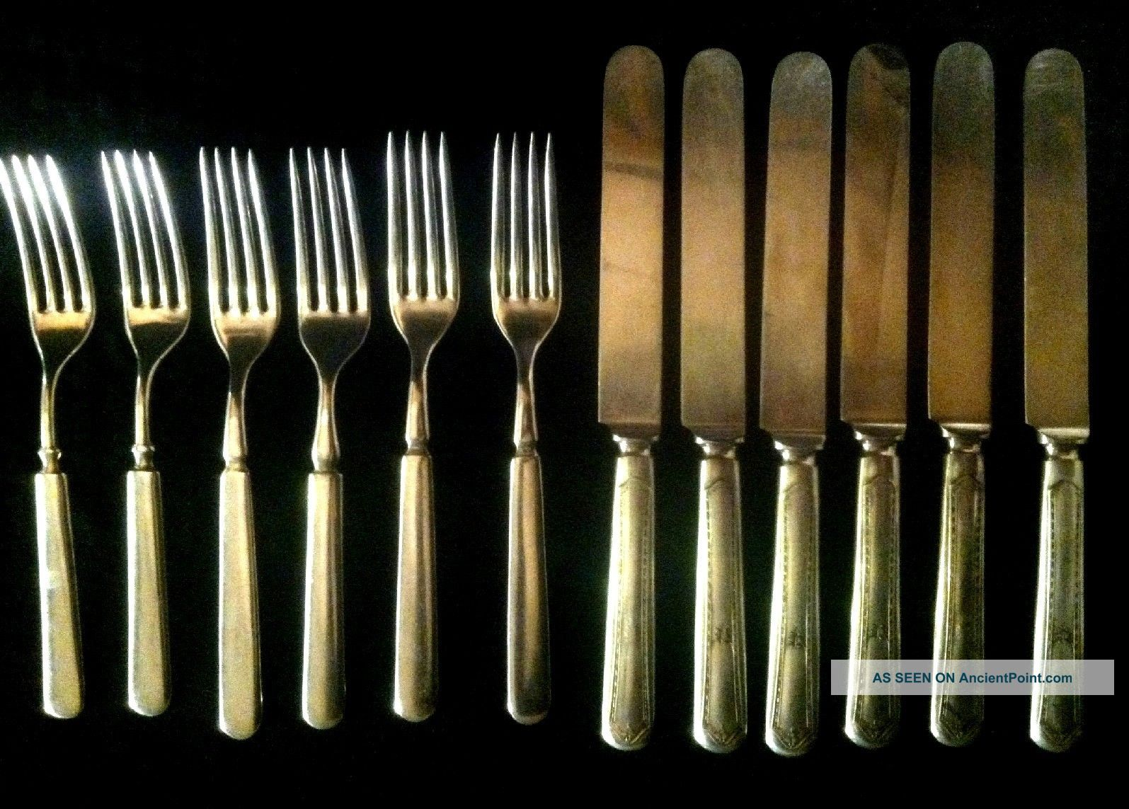 Vintage Wm.  Rogers/oneida Dwt 12 6 Fork/6 Knife Set.  Beatiful Set Oneida/Wm. A. Rogers photo