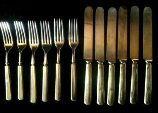 Vintage Wm.  Rogers/oneida Dwt 12 6 Fork/6 Knife Set.  Beatiful Set photo