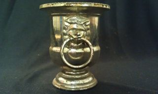 Silver - Plated Goblet W/lion Head On Both Sides photo