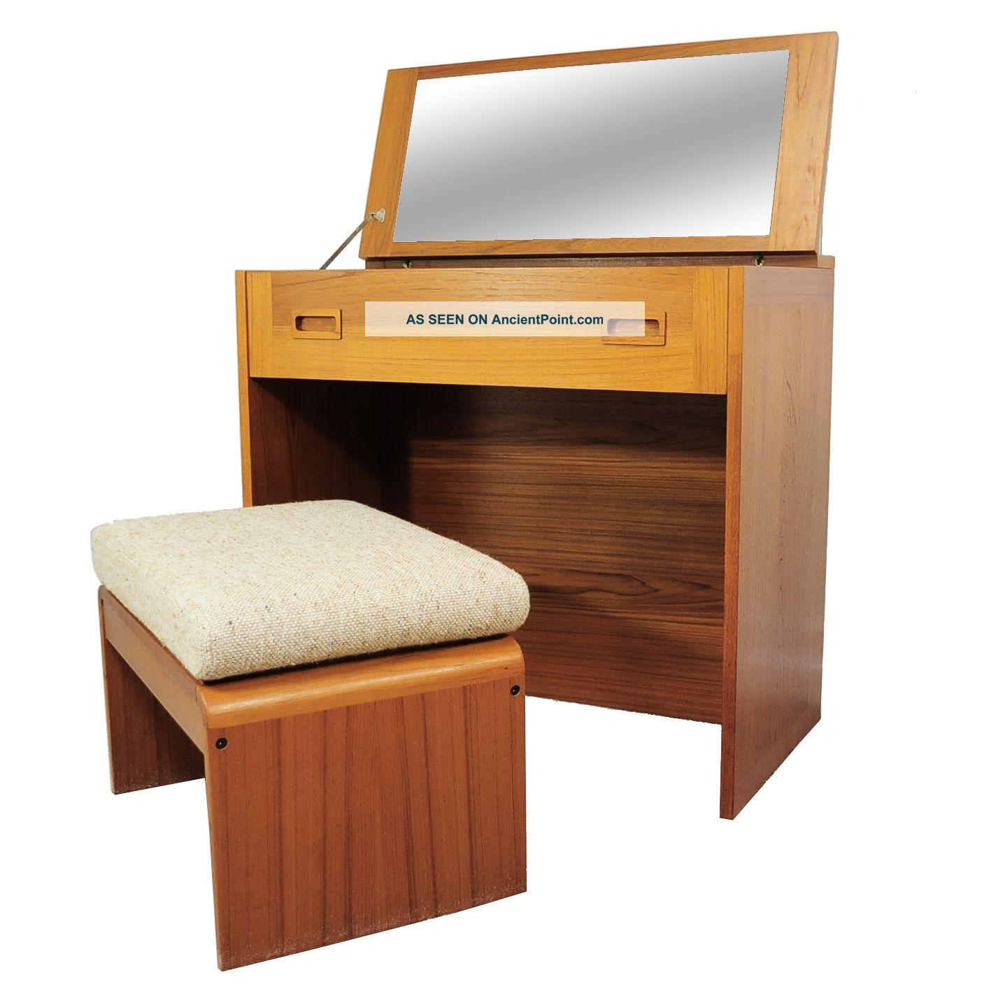 Vtg Mid Century Danish Modern Vm Teak Flip Top Mirror Vanity Desk Stool Bench