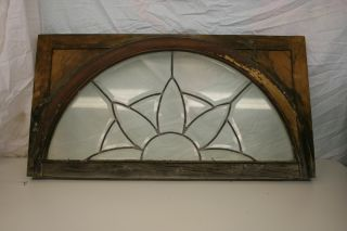 Antique Leaded Glass Window Half Round Upper Transom 1903 photo