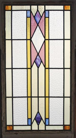 Large Tall Antique Stained Glass Window Six Color Art Deco Fantastic Design photo