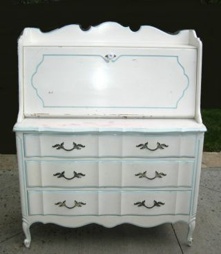 Vintage French Provincial Dixie Style Drop Leaf White Desk Dove Tail Dresser photo