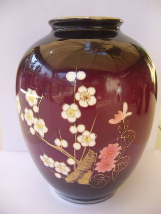 Antique Meiji Japanese Cloisonne Enamel Vase W/ Silver Color Rims photo