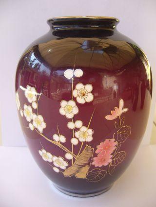 Antique Meiji Japanese Cloisonne Enamel Vase W/ Silver Color Rims photo