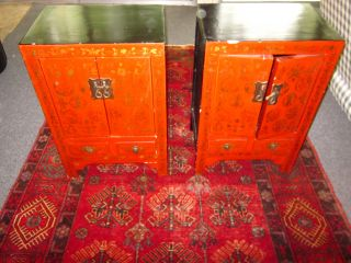 2 Red Chinese End Tables/night Stands photo