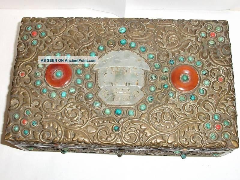 Rare Old Gilt Bronze Carved White Jade Coral Dragon Box Boxes photo
