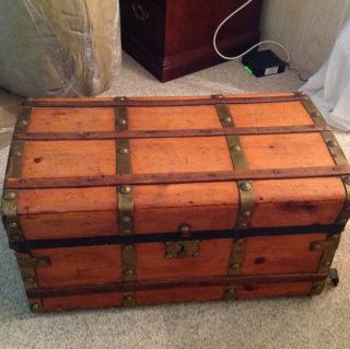 Antique Jenny Lind Trunk Brass Knobs Vintage Pick Up Hobe Sound Florida photo