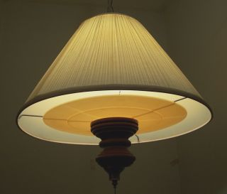 Vtg.  Large Retro 1960s Wood Brass Shaded Pendent Chandelier Swag Light Fixture photo