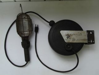 Pat Pend Vintage Cordomatic 900 Industrial Trouble Drop Shop Light Nr photo