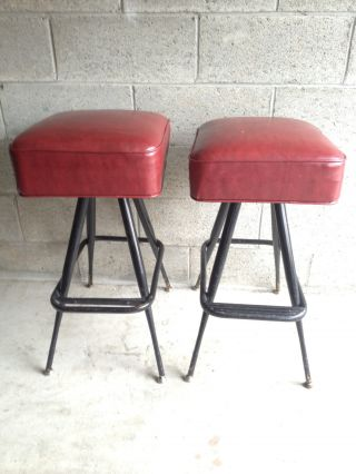 Mid Century Leather Red Bar Stools W/ Metal Legs photo
