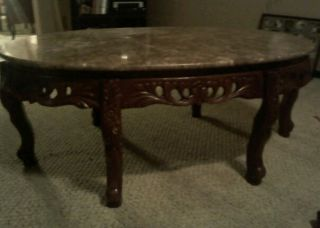 Pink Marble Top Coffee Table With 6 Leg Mahogany Base photo