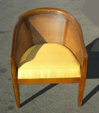 Vintage Cane Back Danish Mid Century Modern Yellow Club Chair Solid Wood photo