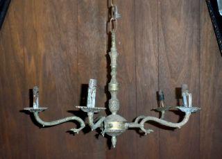 Antique Vintage 5 Arm Decorative Chandelier Heavy Brass Ceiling Light Fixture photo