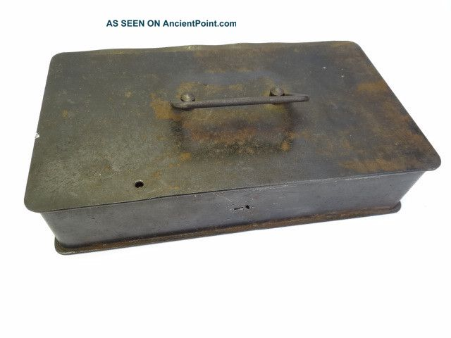 Antique Old Metal Cast Iron Small Lockbox Strong Box Safe Storage Container Safes & Still Banks photo