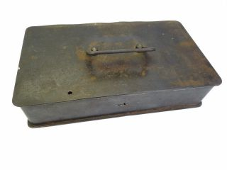 Antique Old Metal Cast Iron Small Lockbox Strong Box Safe Storage Container photo