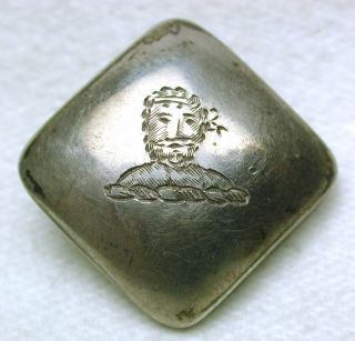 Square Antique Hallmarked Sterling Livery Button Etched Mans Head W/ Wreath photo