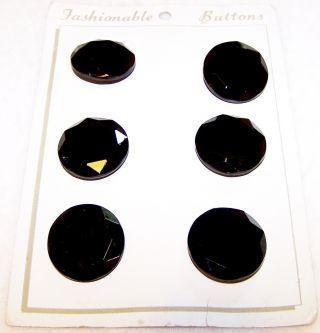 "Vntg Set 6 Black Glass Faceted Button W/original Card 1&1/16"" Diameter 3/16""high photo"
