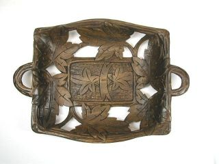 Antique Leaf Carved Dish/ Tray,  Black Forest,  Germany. photo